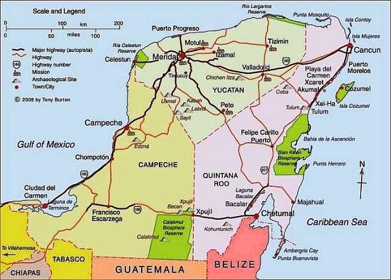 Carte de la péninsule du Yucatán