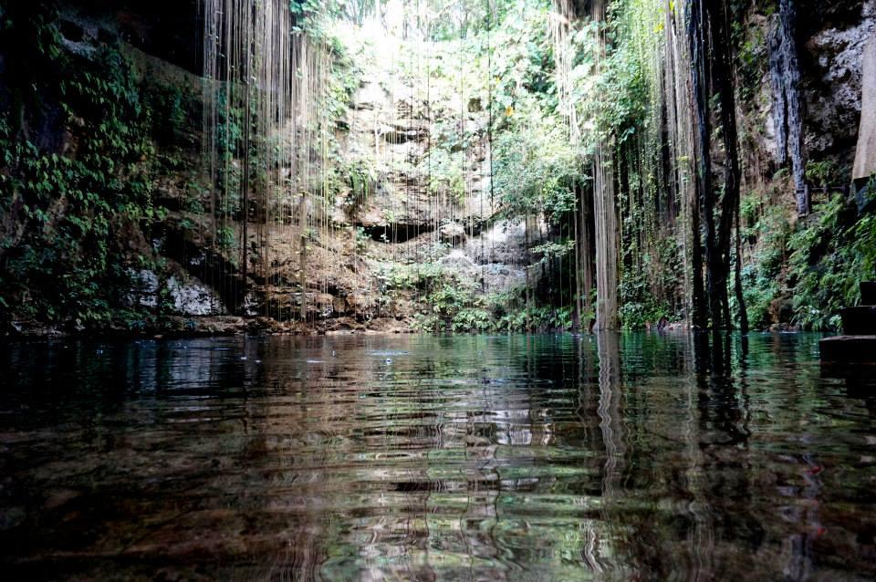 Nager dans un cénote au Mexique