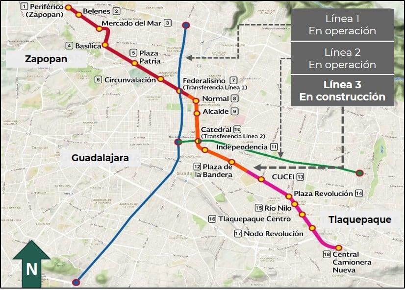 Plan du métro de Guadalajara, Mexique