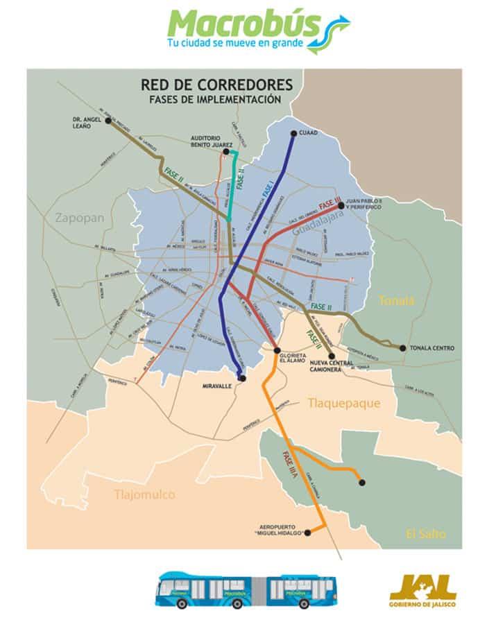 Plan du macrobus de Guadalajara