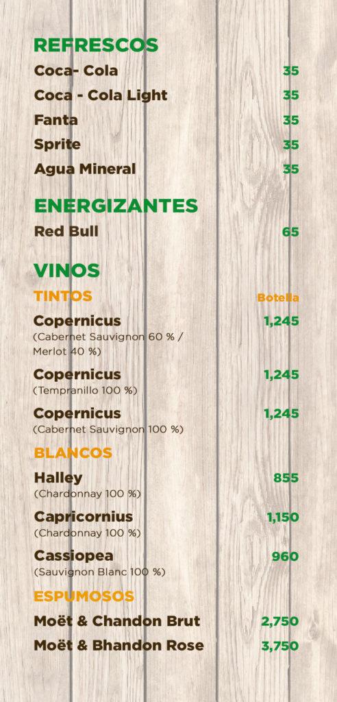 Menu Restaurant Cocotales