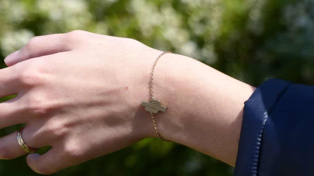 Bracelet mexicain cactus or argent