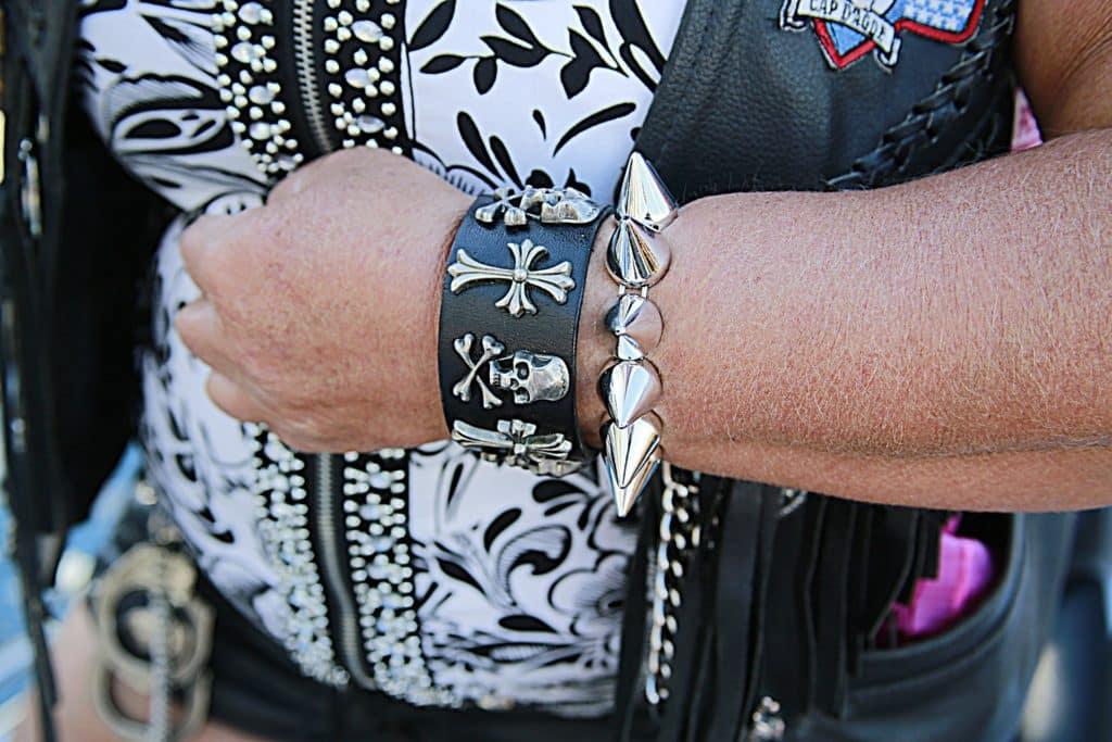 Cadeau bracelet biker motard Harley davidson tête de mort homme