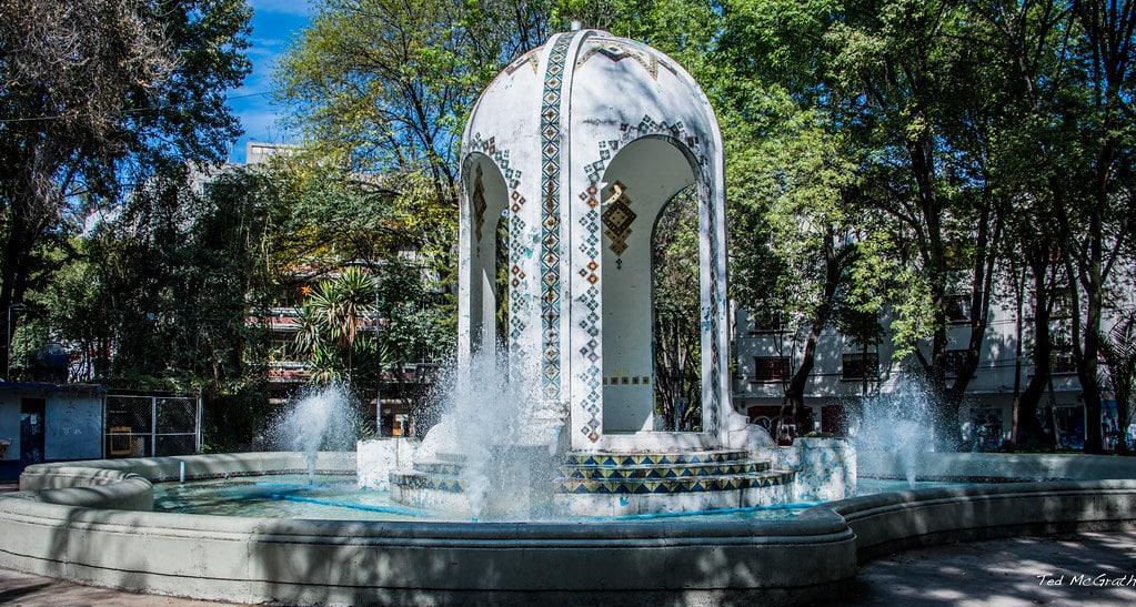 Quartier La condesa à Mexico Fontaine
