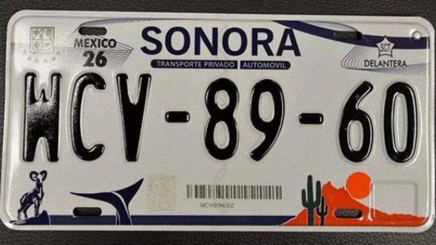Plaque d'immatriculation de Sonora