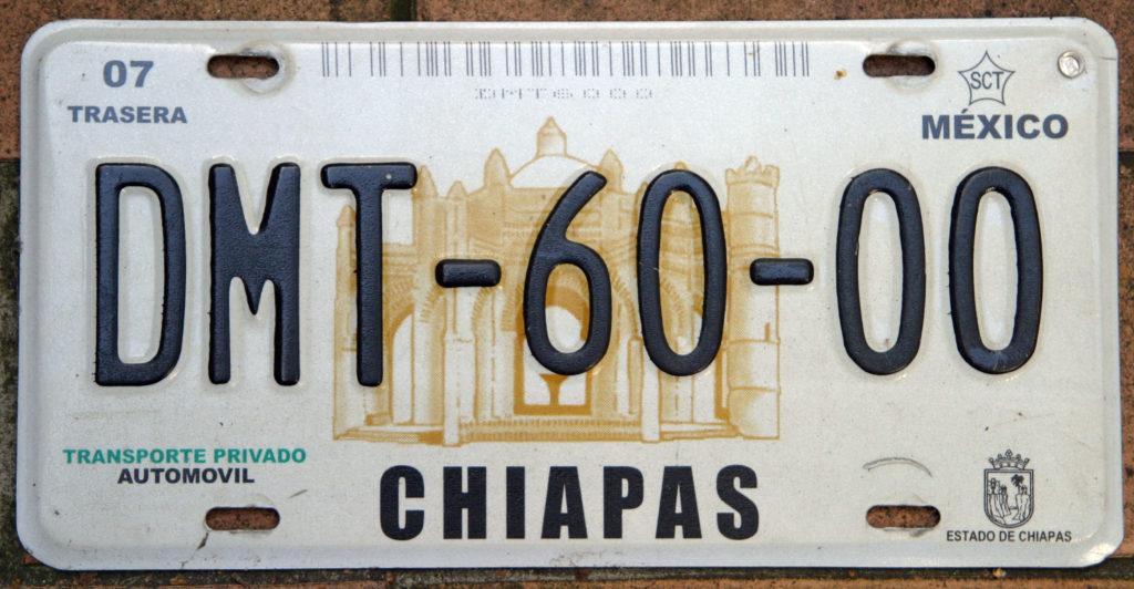 Plaque d'immatriculation de Chiapas