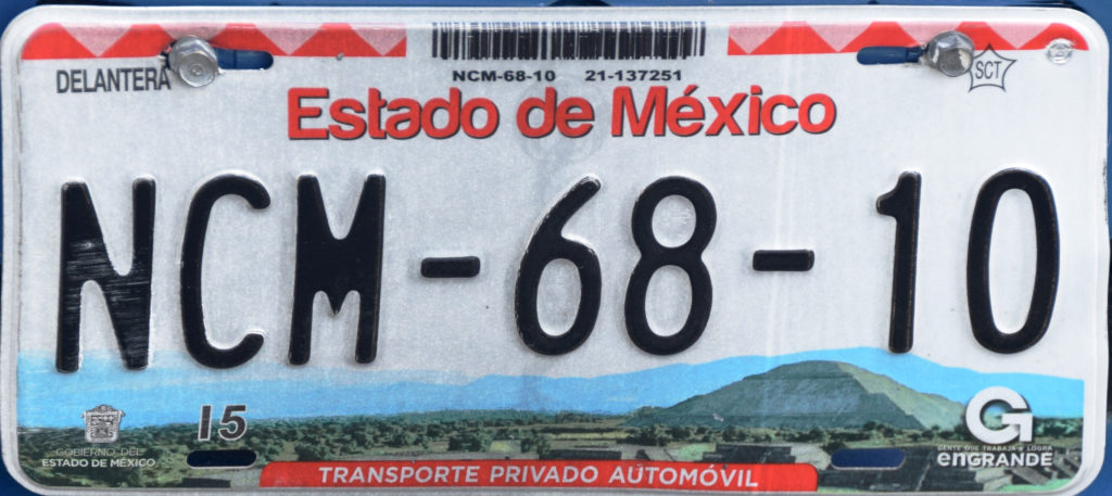 Plaque d'immatriculation Estado de Mexico
