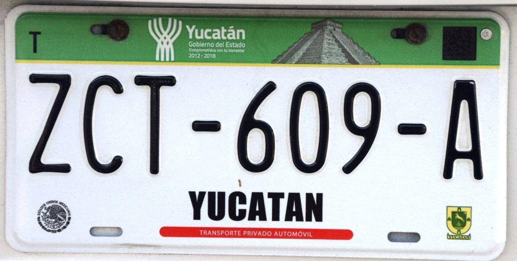 Plaque d'immatriculation du Yucatan